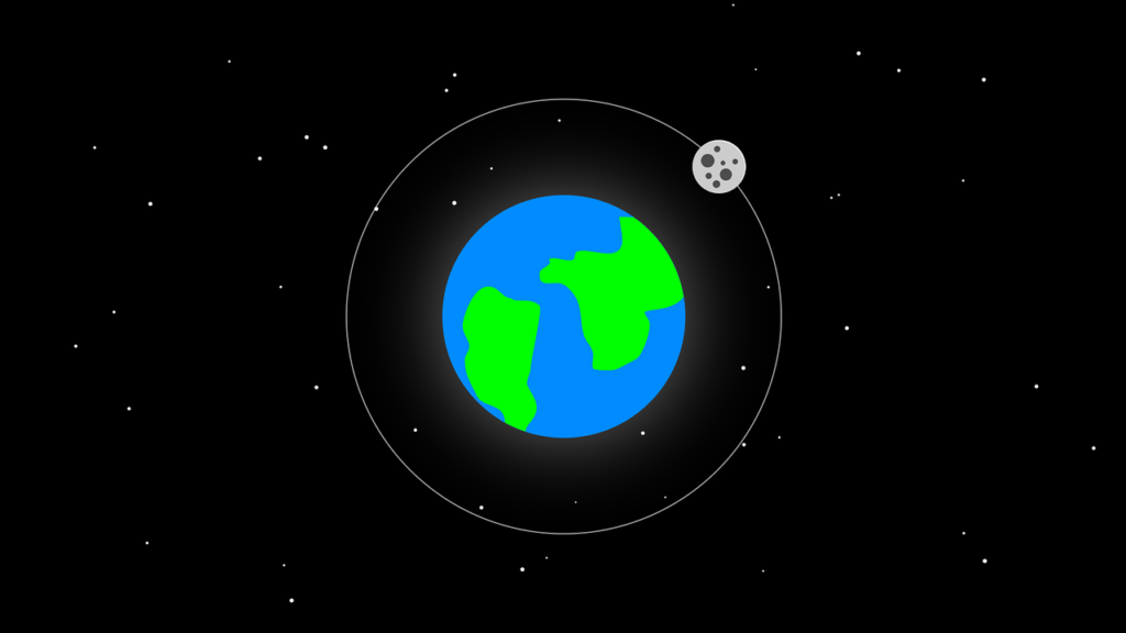 cartoon earth and moon