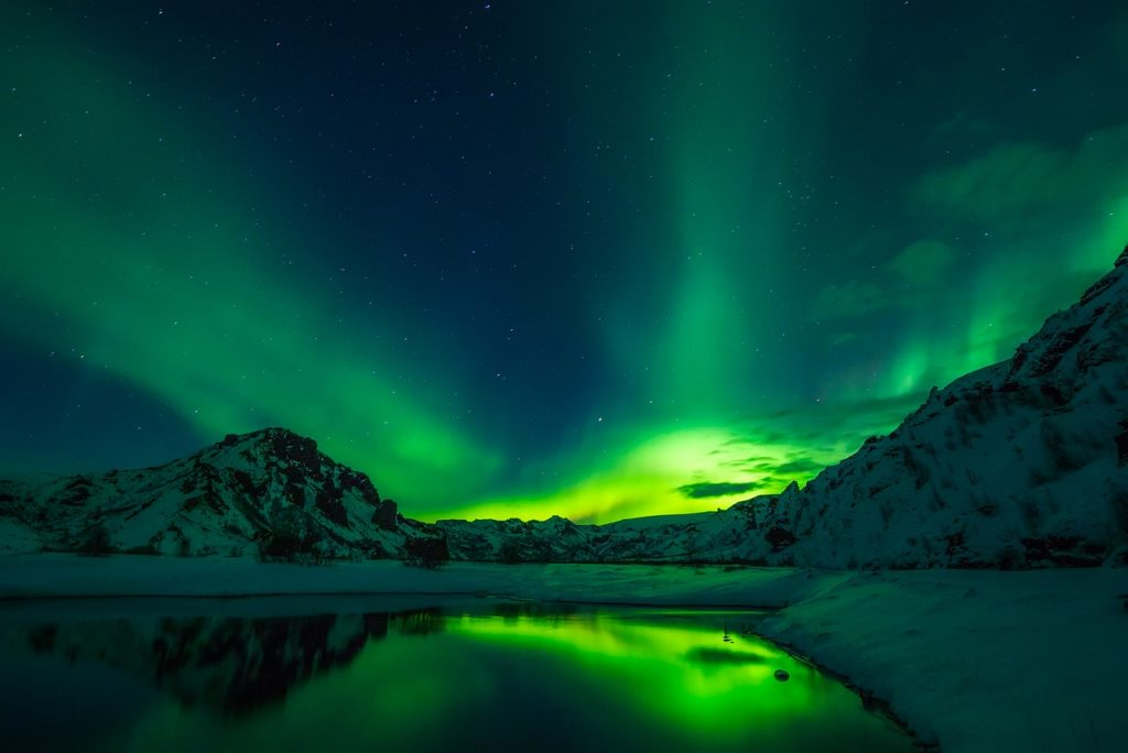aurora borealis in the night sky